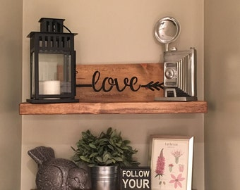 "60"" Rustic Wood Floating Shelf - SHELF ONLY - no brackets"