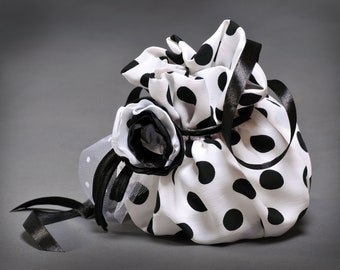 A Festive bag for a girl. An evening bag. A holiday bag. A birthday bag. Present for a girl.Dotted bag. Polka-dot bag. Artificial silk.