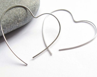 Open Heart Hoop, Simple Silver Earrings,Silver Heart Earrings, Sterling Silver Hoop