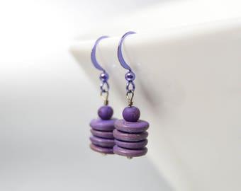 Purple Drop Earrings Grape Stacked Wood Beads Amethyst Ear Wires