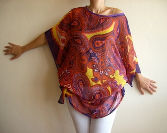 Colorful Kimono Sleeves Caftan Tunic Dress, Bohemian Paisley Top, Casual Chic