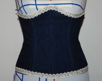Underbust Corset in jeans with lace trim