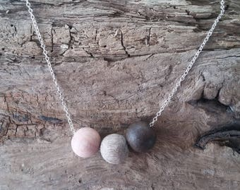 Rosewood, Graywood and Ebony essential oil diffuser necklace, aromatherapy necklace