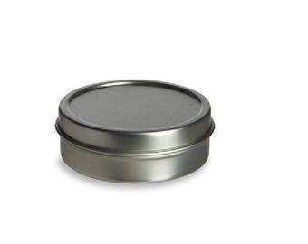 2 oz Solid Top Tin Container with Solid Lid - Round, Silver