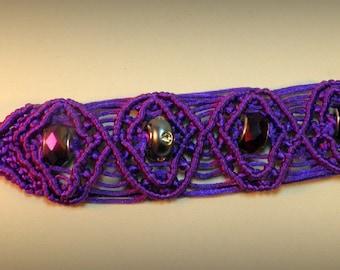"7"" Micro Macrame Beaded Bracelet, Purple"