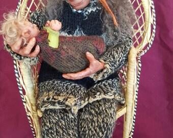 OOAK handsculpted fantasy troll Goblin Froud dolls - Nana & baby