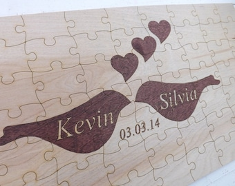 Wood Puzzle Pieces Wedding Guest Book Rustic and Fun Ideas.
