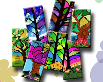 FOUR SEASONS TREES  -  Digital Collage Sheet 1x2 inch domino images for pendants, rectangle bezel settings, magnets.  Instant Download #248.