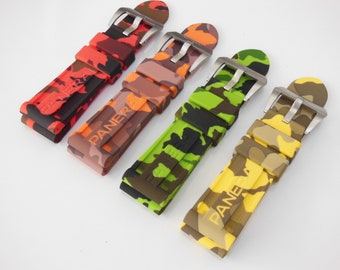 24mm Camouflage Rubber Watch Strap with Screw-in Buckle for Panerai