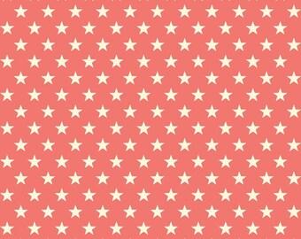 Coral Star Fabric, Riley Blake C3993 Trendsetter Stars Coral, Salmon Star Fabric, Cream Stars on Coral, Cotton Star Fabric, Coral Fabric