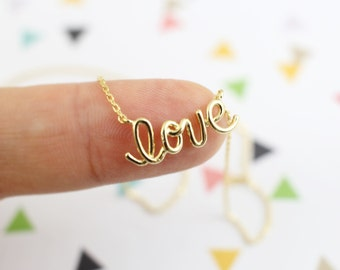 Dainty Necklace,Gold Plated Love Script Pendant Necklace,Gold  Love Necklace, Small Love Charm Necklace, Bridesmaid Gift,Birthday Gift-5026