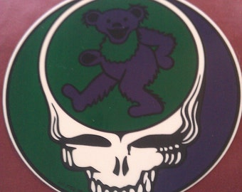 """Grateful Dead Steal Your Face Jerry Bear Green Purple 5"""" Round STICKER DECAL"""