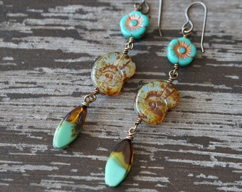 Unlisted - Shell Earrings - Turquoise and Amber - Beach Earrings - Earthy Rustic Earrings - Shells and flowers Boho - Bead Soup Jewelry