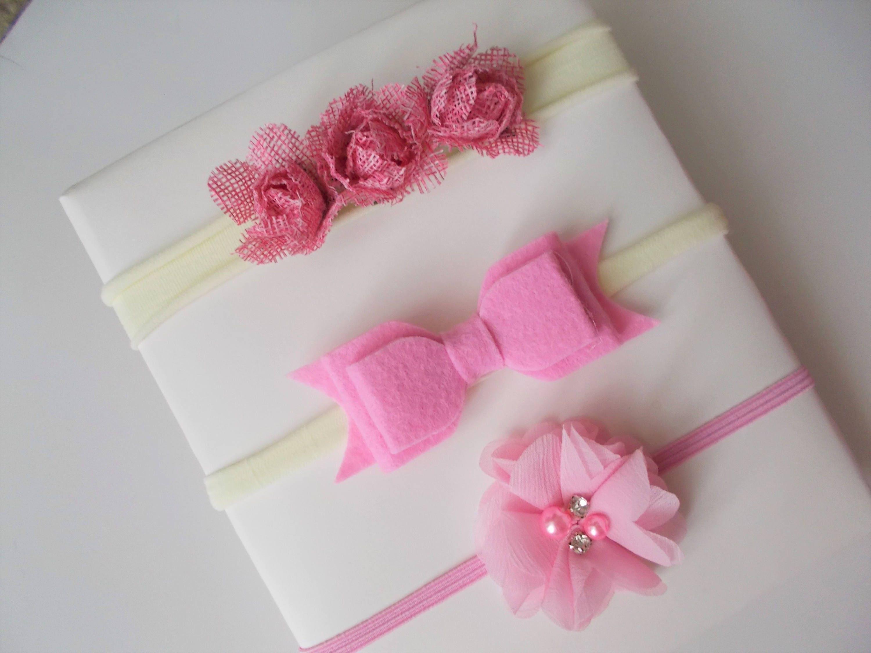 Pink Cute Flowers Felt Bow Chiffon Flower Headband Set
