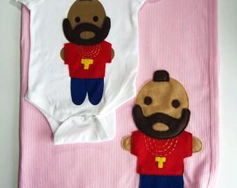 Looks Like Mr. Tee... Infant Bodysuit and PINK Baby Blanket Combo