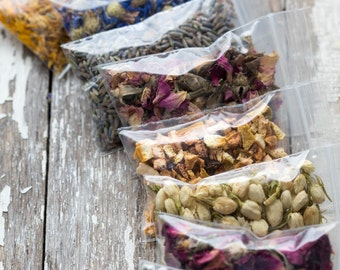 You Pick 6- Dried Flower Assortment - For DYI Skincare Bath & Body-Botanical Anthology DIY Natural Organic Botanical Supplies- Dried Herbs