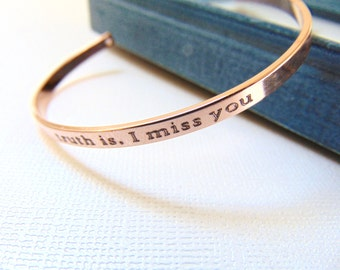 Rose Gold Cuff Bracelet, customized Quote bracelet, Personalized cuff, Engraved message Bracelet, Stamped adjustable bangle, inspirational