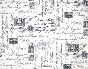 Black on White Postage Stamps and Script Print Pure Cotton Fabric--One Yard