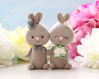 Unique wedding cake toppers interracial Bunny holding hands - bride groom figurines rabbit rustic country elegant funny wedding farm cute