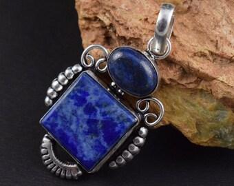 Lapis Lazuli  gemstonebrass silver plated
