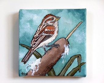Sparrow on Cattail, Original Oil Painting, Small Painting, Bird Painting