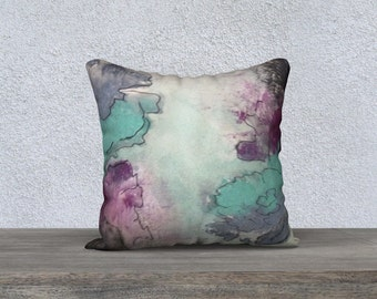 Watercolour throw pillow cover, printed cushion cover, Home decor accessories, watercolour cushion cover by Felicianation Ink