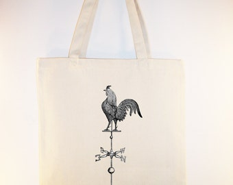 Awesome Vintage Weather Vane with Rooster Illustration on Canvas Tote with shoulder strap - Selection of sizes colors available