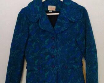 Retro 1960s Jacket, Size 14 Medium or Large Blue and Green Paisley Thick Winter Coat, Boho Hippie Classy Blazer