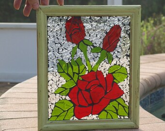 Stained Glass Mosaic Ruby Red Roses Window Repurpose Frame