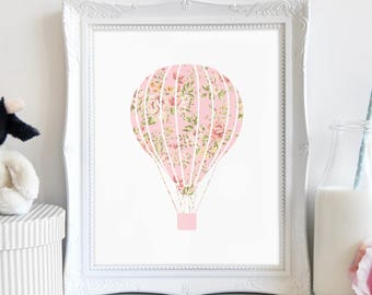 Travel Art, Hot Air Balloon Print, Nursery Decor, Above Crib Print, Baby Shower Gift, Shabby Chic, Instant Download, Printable Art