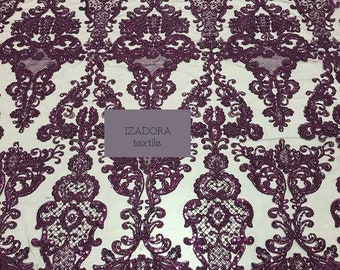 Lace Fabric/Heavy Beaded Ornament Lace Fabric