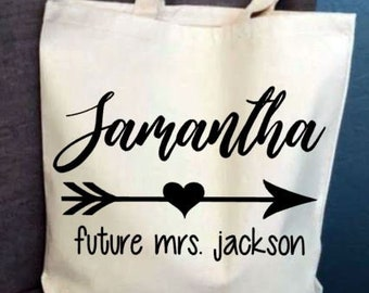 Personalized Bridal Party Tote Bag, Custom Bridesmaid Totes, Bachelorette Party Tote Bags