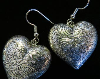 Heart Earrings Big & Chunky Oxidized Matte Silver Valentine Romantic Love Hearts ES428