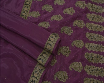 KK Vintage Saree Crepe Silk Hand Beaded Fabric Premium Cultural Sari 5 Yard