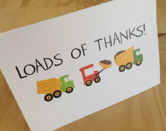 Construction Themed Thank You Cards | Dump Truck Thank You Cards | Kids Thank You Cards | Boy Thank You Cards