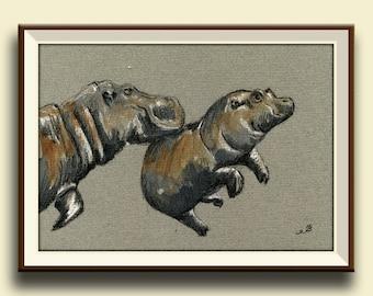 PRINT-Hippo baby mom hippos art safari nursery study africanwatercolor painting Art Print by Juan Bosco