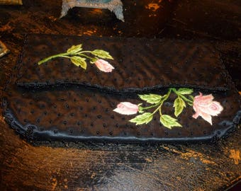Beautiful Black Beaded Folding Clutch With Lovely Embroidered Pink Roses 1960's
