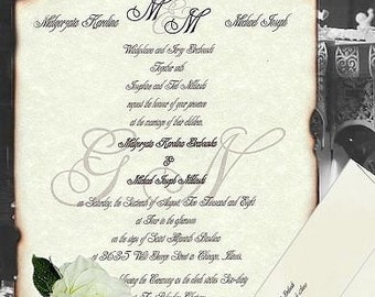 custom - qty 75 half size - Wedding Invites Scroll Invitations Love Letter Monogram Theme 2wk exp