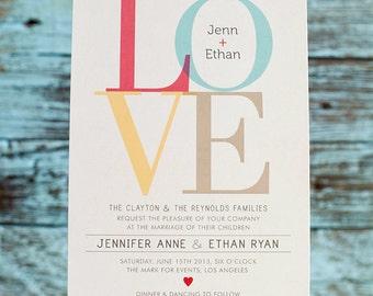 Love Wedding Invitation, Love Invitation, Rustic wedding, Engagement Party, Printed Invitation or DIY Printable
