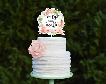 Wedding Cake Topper, Floral Cake Topper for Wedding, Watercolor Personalized Wedding Cake Topper, Custom Cake Topper for Wedding Cake