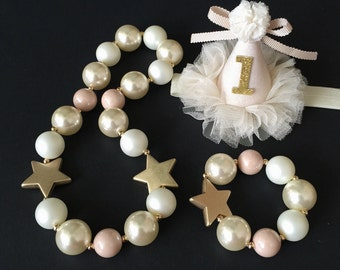 SALE!!!,Gold Star Chunky Necklace,Gold Star Baby Necklace,Star Bubblegum necklace,Cream Color Chunky necklace,StarChunky Necklace,Gold Star
