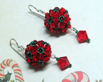 Christmas Ball Earrings, Christmas Earrings, Holiday Earrings, Red Earrings, Green Earrings, Swarovski Earrings, Christmas Jewelry, Dangle