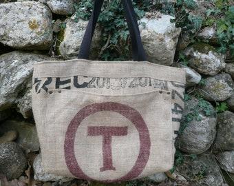 Burlap tote bag / / recycled coffee bag / / beach bag / / shopping bag