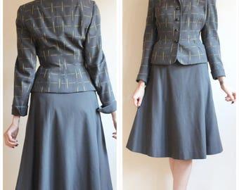 1940s Suit // Skyscraper Wool Waiers Suit // vintage 40s suit