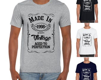 Made in 1998 Mens/Adults Novelty Tshirt - Funny Birthday Gift 20 Years Present 20th Birthday Gift