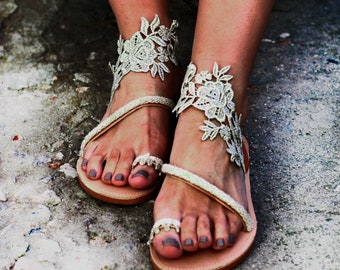 Sandals for wedding, lace wedding shoes for bride, barefoot sandals wedding lace, ivory wedding flats for bride,beach wedding shoes,footless