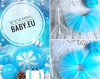 Extra fully puffy tutu skirt sparkles tulle skirt blue white silver shiny tutu europe elza frozen birthday winter snow snowflake light blue