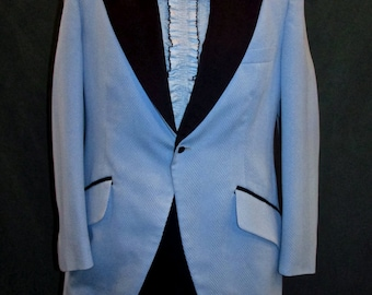 Vintage 1970s Powder Blue Polyester Palm Jacket Tuxedo 38 Jacket Washable with Black Satin Velvet Collar 60s 80s jacket Tux Prom  Retro 1