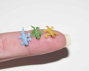 Extremely Micro Gecko tiny crochet lizard Miniature terrarium animals Miniature Reptile Dollhouse terrarium doll house animal toys