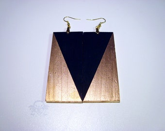LUXE Collection - Reversible Metallic Gold and Black Wood Dangle Earrings